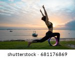 a girl practicing yoga with a... | Shutterstock . vector #681176869