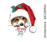 beagle dog in a big santa's cap ... | Shutterstock .eps vector #681180961