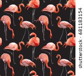 seamless vector pink flamingo... | Shutterstock .eps vector #681183154