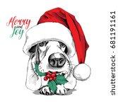 basset hound dog in a big santa'... | Shutterstock .eps vector #681191161