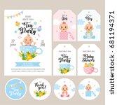 baby shower set. card  label... | Shutterstock .eps vector #681194371