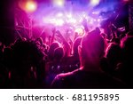 crowd with raised hands at... | Shutterstock . vector #681195895