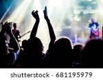 crowd with raised hands at... | Shutterstock . vector #681195979