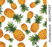 seamless pineapple pattern on... | Shutterstock .eps vector #681199057
