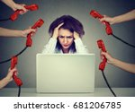 tired stressed business woman... | Shutterstock . vector #681206785
