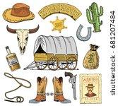 wild west  rodeo show  cowboy... | Shutterstock .eps vector #681207484