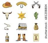 wild west  rodeo show  cowboy...   Shutterstock .eps vector #681208804