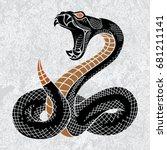 viper snake. hand drawn vector... | Shutterstock .eps vector #681211141
