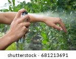 young man spraying mosquito  ... | Shutterstock . vector #681213691