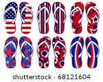 flipflops   american flag... | Shutterstock .eps vector #68121604