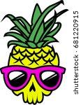 ananas skull goggles crazy | Shutterstock .eps vector #681220915