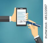 businessman hands signing...   Shutterstock .eps vector #681222007
