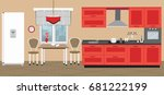 kitchen in an red color.... | Shutterstock .eps vector #681222199
