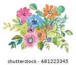 watercolor beautiful floral... | Shutterstock . vector #681223345