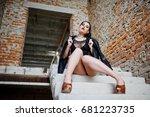 brunette plus size sexy woman ... | Shutterstock . vector #681223735