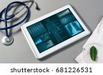 white tablet pc and doctor... | Shutterstock . vector #681226531