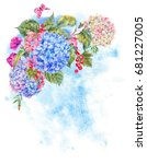 summer watercolor vintage... | Shutterstock . vector #681227005