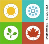 four seasons colorful icon set. ... | Shutterstock .eps vector #681237565