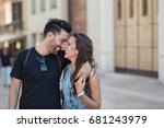 happy couple embracing leaning... | Shutterstock . vector #681243979