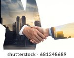 double exposure of businessmen... | Shutterstock . vector #681248689