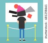 visitor in a modern art gallery ... | Shutterstock .eps vector #681258661