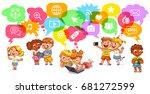 children communicate with each... | Shutterstock .eps vector #681272599