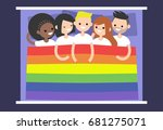 lgbtq group of people covered... | Shutterstock .eps vector #681275071