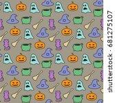 seamless halloween pattern on... | Shutterstock . vector #681275107