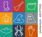 set of outlines halloween icons....