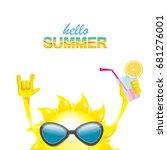 hello summer rock n roll vector ... | Shutterstock .eps vector #681276001