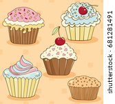 cakes drawn in a vector in the... | Shutterstock .eps vector #681281491