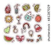 summer doodle set. various... | Shutterstock .eps vector #681287029