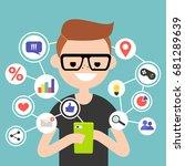 millennial consuming online... | Shutterstock .eps vector #681289639
