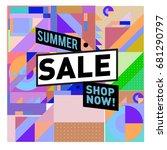 summer sale geometric style web ... | Shutterstock .eps vector #681290797