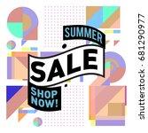 summer sale geometric style web ... | Shutterstock .eps vector #681290977