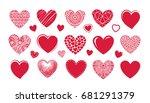 red heart logo  label. set... | Shutterstock .eps vector #681291379
