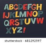 comic colorful alphabet. vector ... | Shutterstock .eps vector #681292597