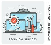 technical services. thin line...   Shutterstock .eps vector #681298417