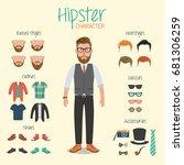 hipster character illustration... | Shutterstock .eps vector #681306259