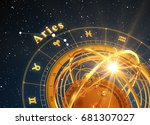 zodiac sign aries and armillary ... | Shutterstock . vector #681307027