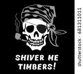 vector image of skull captain... | Shutterstock .eps vector #681311011
