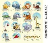 savannah animals. funny cartoon ... | Shutterstock .eps vector #68131537
