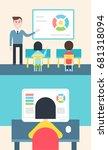 blended learning and flipped... | Shutterstock .eps vector #681318094