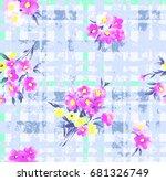 brush painting flower check... | Shutterstock .eps vector #681326749