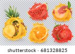 strawberry  pineapple  orange ... | Shutterstock .eps vector #681328825