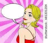 pop of cartoon woman with... | Shutterstock . vector #681331204
