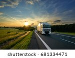 white truck driving on the... | Shutterstock . vector #681334471