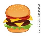 double meat hamburger. vector...   Shutterstock .eps vector #681338569