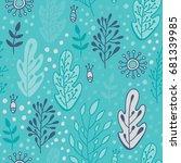forest leaves seamless vector... | Shutterstock .eps vector #681339985