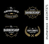 set of vintage barber shop... | Shutterstock .eps vector #681347371